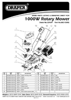 Parts List for Draper 1000w 300mm 230v Rotary Mower 03469 Me1030g