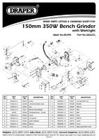 Parts List for Draper 150mm 370w 230v Bench Grinder With Led Worklight 05095 Gd625l
