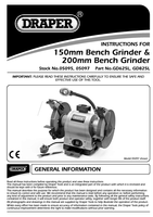 Instruction Manual for Draper 200mm 550w 230v Heavy Duty Bench Grinder With Led Worklight 05097 Gd825l