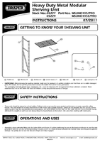 Instruction Manual for Draper Expert Heavy Duty Steel 4 Shelving Unit - 1959 X 610 X 1830mm 05227 Msuhd195/pro