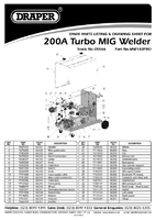 Parts List for Draper Expert 200a 230v Turbo Mig Welder 05566 Mw183at Pro