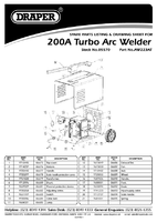 Parts List for Draper Expert 200a 230/400v Turbo Arc Welder 05570 Aw223at