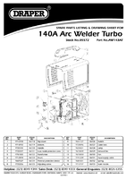 Parts List for Draper Expert 140a 230v Turbo Arc Welder 05572 Aw143at