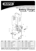 Parts List for Draper Expert 12v/24v 12a Battery Charger 05597 Bc14b