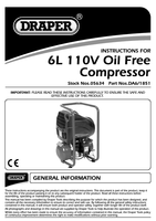 Instruction Manual for Draper 6l 110v 1.1kw Oil-free Air Compressor 05634 Da6/1851