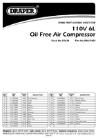 Parts List for Draper 6l 110v 1.1kw Oil-free Air Compressor 05634 Da6/1851