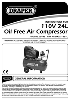 Instruction Manual for Draper 24l 110v 1.1kw Oil-free Air Compressor 05635 Da25/1851c