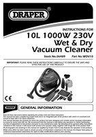 Instruction Manual for Draper 10l 1000w 230v Wet And Dry Vacuum Cleaner 06489 Wdv10