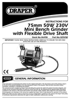 Instruction Manual for Draper 75mm 50w 230v Mini Bench Grinder With Flexible Drive Shaft 06498 Gd50w