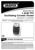 Instruction Manual for Draper 1.5kw 230v Positive Temperaturecoefficient (Ptc) Ceramic Heater 07214 Heat2a
