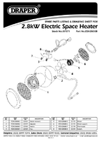 Parts List for Draper 2.8kW 230V Space Heater 07571 (ESH2800B)