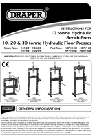 Instruction Manual for Draper 10 Tonne Hydraulic Bench Press 10582 Hbp/10b