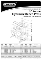 Parts List for Draper 10 Tonne Hydraulic Bench Press 10582 Hbp/10b