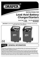 Instruction Manual for Draper 12/24v 240a Battery Starter/charger With Trolley 11966 Bcsd300t