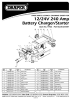 Parts List for Draper 12/24v 240a Battery Starter/charger With Trolley 11966 Bcsd300t
