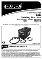 Instruction Manual for Draper 90a 230v Gas/gasless Turbo Mig Welder 11972 Mwd100at