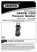 Instruction Manual for Draper 2800W 230V Professional Pressure Washer with Total Stop Feature 14434 (PW2810)