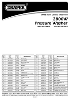 Parts List for Draper 2800W 230V Professional Pressure Washer with Total Stop Feature 14434 (PW2810)