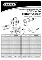 Parts List for Draper 12v 4.2a Battery Charger 20486 (Bcd5)