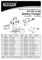 Parts List for Draper 6/12V 5.6A Battery Charger 20487 (BCD6)