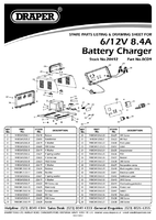 Parts List for Draper 6/12V 8.4A Battery Charger 20492 (BCD9)