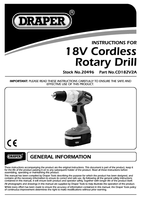 Instruction Manual for Draper 18v Cordless Rotary Drill With Two Batteries 20496 (Cd182v2a)