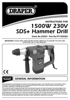 Instruction Manual for Draper 1500W 230V SDS+ Rotary Hammer Drill Kit with Rotation Stop 20504 (PT1500SDS)