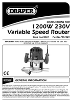 Instruction Manual for Draper 1200W 230V Variable Speed Router Kit 20507 (PT1202V)