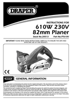Instruction Manual for Draper 610w 230v 82mm Planer 20513 (Pt610v)
