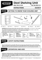 Instruction Manual for Draper Steel Shelving Unit - Four Shelves (L760 x W300 x H1520mm) 21658 (MSU152)