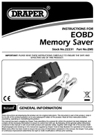 Instruction Manual for Draper Eobd Memory Saver 22231 Ems