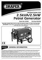 Instruction Manual for Draper 2.5kVA/2.3kW Petrol Generator with Wheels 23383 (PG27W)