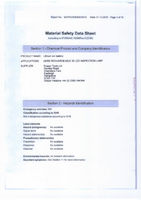 Material Safety Data Sheet for Draper Expert 30 LED Rechargeable Magnetic Inspection Lamp 24368 (RIL30E)