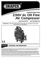 Instruction Manual for Draper 6L 1.1kW Oil-Free Air Compressor 24974 (DA6/169)