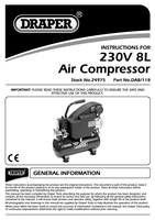 Instruction Manual for Draper 8L 230V 0.75kW Air Compressor 24975 (DA8/118)