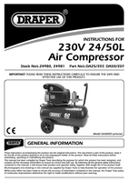 Instruction Manual for Draper 50L 230V 1.5kW Air Compressor 24981 (DA50/207)