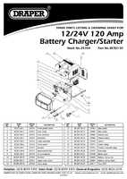 Parts List for Draper 12/24V 120A Battery Starter/Charger 25354 (BCSD130)