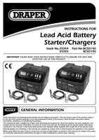 Instruction Manual for Draper 12/24V 180A Battery Starter/Charger 25355 (BCSD190)