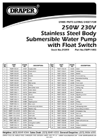 Parts List for Draper 100L/Min (Max.) 250W Stainless Steel Submersible Water Pump with Float Switch 25359 (SWP110SS)