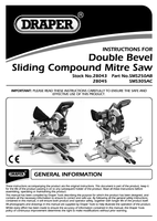 Instruction Manual for Draper 250mm 1800w 230v Double Bevel Sliding Compound Mitre Saw With Laser Cutting Guide 28043 (Sms250ab)