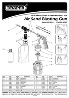 Parts List for Draper Air Sand Blasting Gun Kit 30427 4289