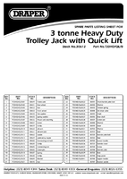 Parts List for Draper 3 Tonne Heavy Duty Garage Trolley Jack with 'Quick Lift' Facility 30612 (TJ3HD/QL/B)