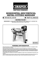 Instruction Manual for Draper 350w 230v Horizontal & Vertical Metal Cutting Bandsaw 30736 Mbs46A
