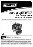 Instruction Manual for Draper 50l 230v 2.2kw Belt-driven Air Compressor 31253 (Da50/290)