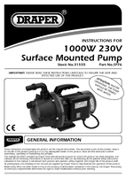 Instruction Manual for Draper 76L/min (Max) 1000W 230V Surface Mounted Pump 31555 (SP76)