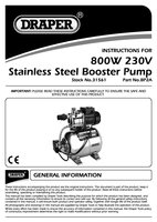 Instruction Manual for Draper 53L/min (max) 800W 230V Stainless Steel Body Booster Pump 31561 (BP2A)