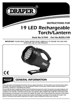 Instruction Manual for Draper Rechargeable 19 LED Torch/Lantern 31940 (RLEDL19/B)
