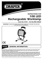 Instruction Manual for Draper Rechargeable 108 LED Worklamp 31942 (RWL108LED)