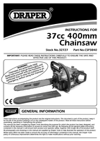 Instruction Manual for Draper Expert 37cc 400mm Petrol Chainsaw With Oregon® Chain And Bar 32727 (Csp3840)