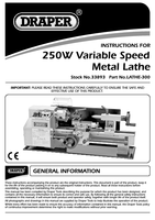 Instruction Manual for Draper 250W 230V Variable Speed Metalworking Lathe 33893 (LATHE-300)